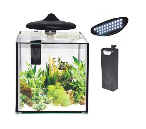12 pieces CC-30 Nano Aquarium 30Liter with filter and LED luminaires, cube