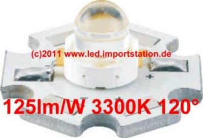 High Efficiency HJ Power LED 1W 3300K 125lm