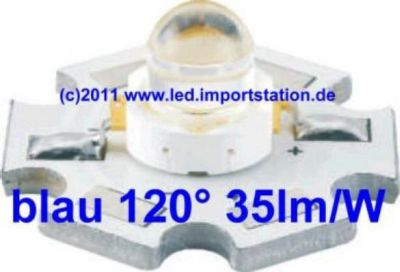 High Efficiency HJ Power LED 1W blau 35lm 120°