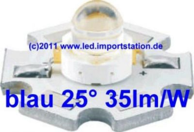 High Efficiency HJ Power LED 1W blau 35lm 25°
