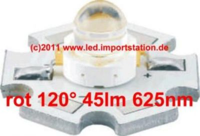 High Efficiency HJ Power LED 1W rot 45lm 120°