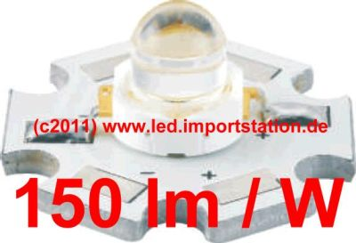 High Efficiency HJ Power LED 1W 6000K 150lm 120°